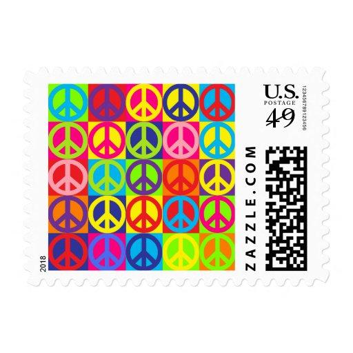 Multiple Multicolor Peace Postage