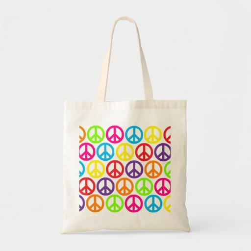 Multiple Multicolor Peace Signs Budget Tote Bag