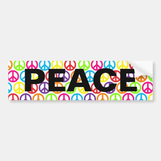 Multiple Multicolor Peace Signs Bumper Sticker