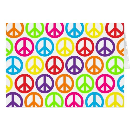 Multiple Multicolor Peace Signs Card