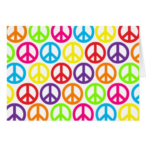 Multiple Multicolor Peace Signs Greeting Card