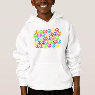 Multiple Multicolor Peace Signs Hoodie