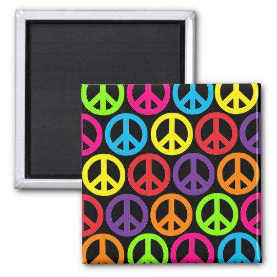 Multiple Multicolor Peace Signs Magnet