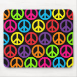 Multiple Multicolor Peace Signs Mouse Pad