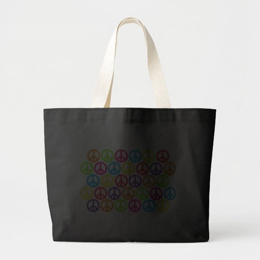 Multiple Multicolor Peace Signs Tote Bags