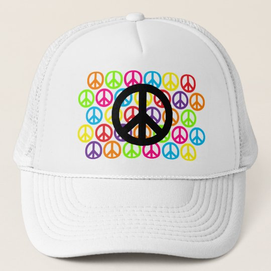 Multiple Multicolor Peace Signs Trucker Hat