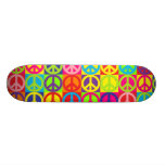 Multiple Multicolor Peace Skate Board Deck