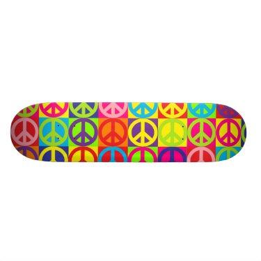 Multiple Multicolor Peace Skate Board Deck
