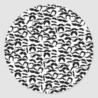 Multiple Mustache Variations Pattern Classic Round Sticker