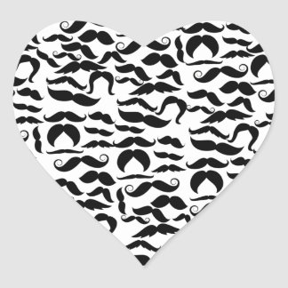 Multiple Mustache Variations Pattern Heart Sticker