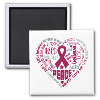 Multiple Myeloma Awareness Heart Words Refrigerator Magnets