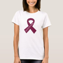 Multiple Myeloma Burgundy Awareness Ribbon T-Shirt
