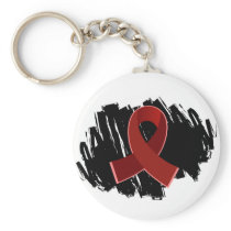 Multiple Myeloma Burgundy Ribbon With Scribble Keychain