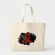 Multiple Myeloma Burgundy Ribbon With Scribble Large Tote Bag
