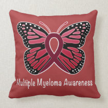 Multiple Myeloma: Butterfly Ribbon of Hope Throw Pillow