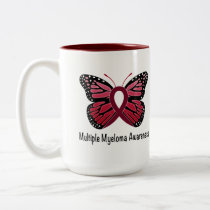 Multiple Myeloma: Butterfly Ribbon of Hope Two-Tone Coffee Mug