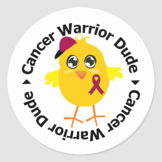 Multiple Myeloma Cancer Warrior Dude Classic Round Sticker