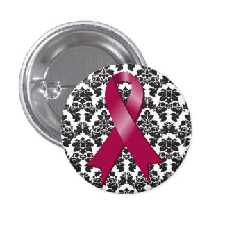 Multiple Myeloma Damask Burgundy Ribbon Pins