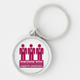 Multiple Myeloma Everyone Wins With Awareness Silver-Colored Round Keychain