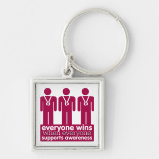 Multiple Myeloma Everyone Wins With Awareness Silver-Colored Square Keychain