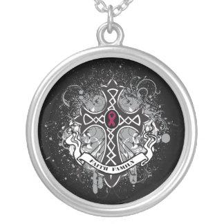 Multiple Myeloma - Faith Family Prayer Cross Round Pendant Necklace