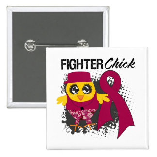 Multiple Myeloma Fighter Chick Grunge Pinback Button