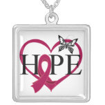 Multiple Myeloma Hope Butterfly Heart Décor Square Pendant Necklace