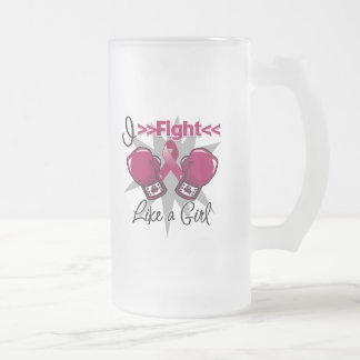 Multiple Myeloma I Fight Like a Girl With Gloves 16 Oz Frosted Glass Beer Mug