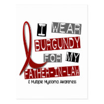 MULTIPLE MYELOMA I Wear Burgundy Father-In-Law Postcard