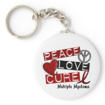 Multiple Myeloma PEACE LOVE CURE 1 Keychain