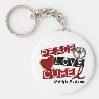 Multiple Myeloma PEACE LOVE CURE 1 Keychain