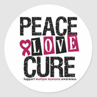 Multiple Myeloma Peace Love Cure Classic Round Sticker