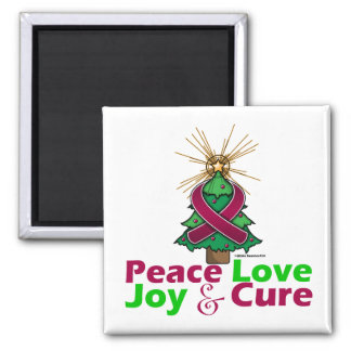 Multiple Myeloma Peace Love Joy Cure 2 Inch Square Magnet