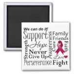 Multiple Myeloma Supportive Words 2 Inch Square Magnet