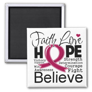 Multiple Myeloma Typographic Faith Love Hope 2 Inch Square Magnet