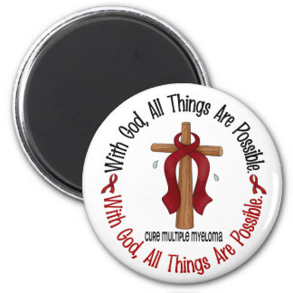 Multiple Myeloma WITH GOD CROSS 1 2 Inch Round Magnet