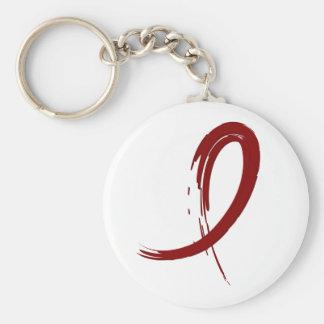 Multiple Myeloma's Burgundy Ribbon A4 Basic Round Button Keychain