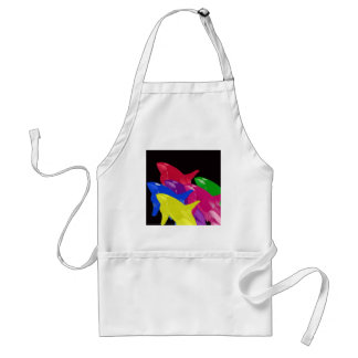 Multiple Orca Whales Multicolored -Reds Ahead Adult Apron