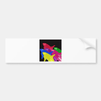 Multiple Orca Whales Multicolored -Reds Ahead Bumper Sticker