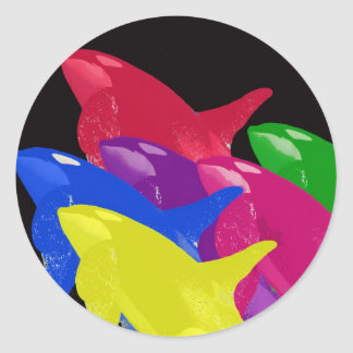 Multiple Orca Whales Multicolored -Reds Ahead Classic Round Sticker