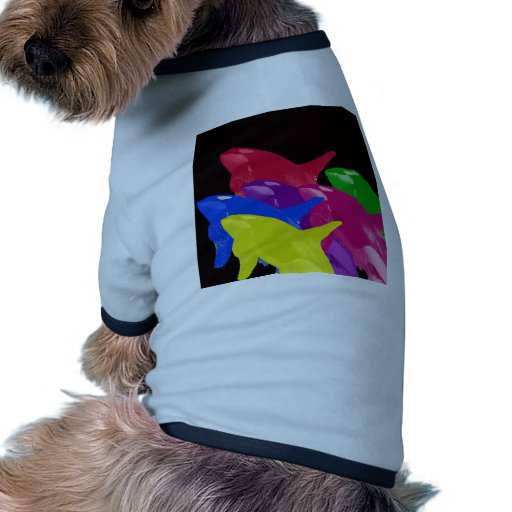 Multiple Orca Whales Multicolored -Reds Ahead Dog T-shirt