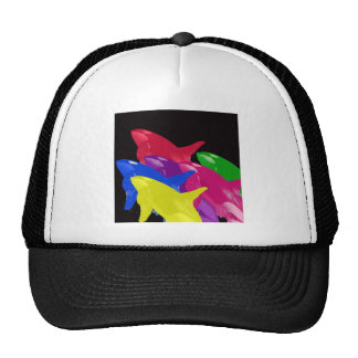 Multiple Orca Whales Multicolored -Reds Ahead Trucker Hats