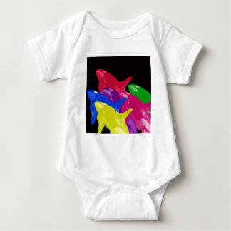 Multiple Orca Whales Multicolored -Reds Ahead Tee Shirt