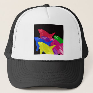 Multiple Orca Whales Multicolored -Reds Ahead Trucker Hat