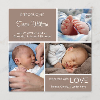 Multiple Photo Birth Announcement//Chocolate Brown Announcement