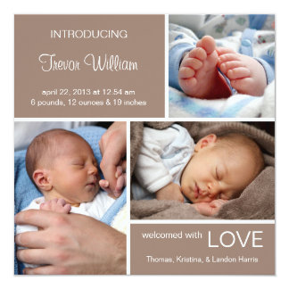 Multiple Photo Birth Announcement//Chocolate Brown Card