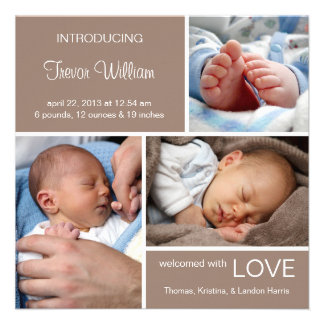 Multiple Photo Birth Announcement Chocolate Brown