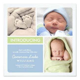Multiple Photo Birth Announcement   Green Blue