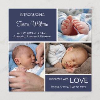 Multiple Photo Birth Announcement//Navy Blue Denim Announcement