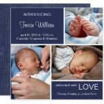 Multiple Photo Birth Announcement//Navy Blue Denim Card